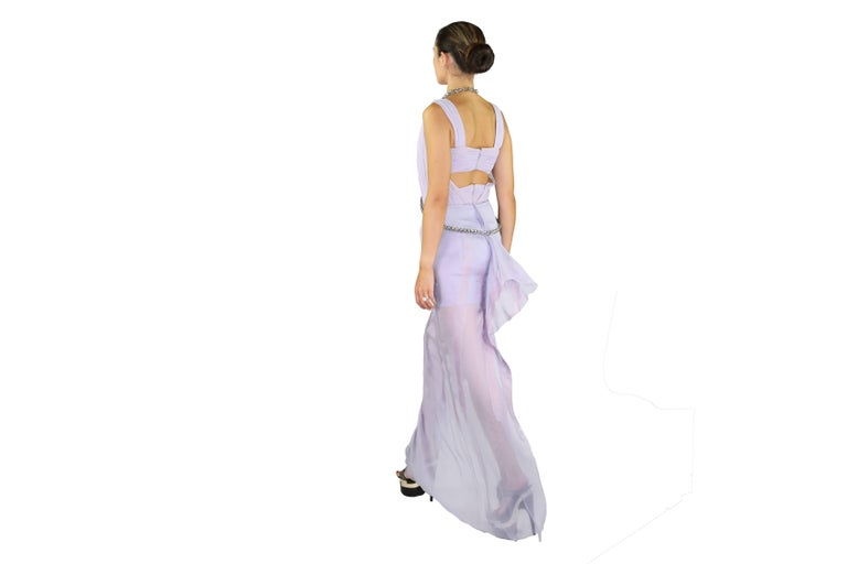 New VERSACE Lilac Chiffon Long Dress with Medusa Chains 8