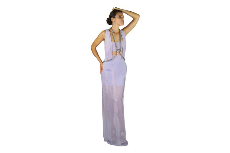 New VERSACE Lilac Chiffon Long Dress with Medusa Chains 2