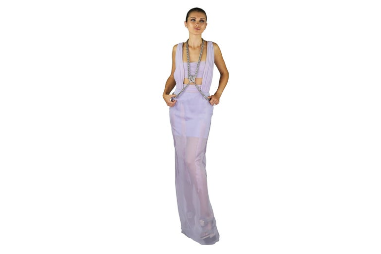 New VERSACE Lilac Chiffon Long Dress with Medusa Chains 3