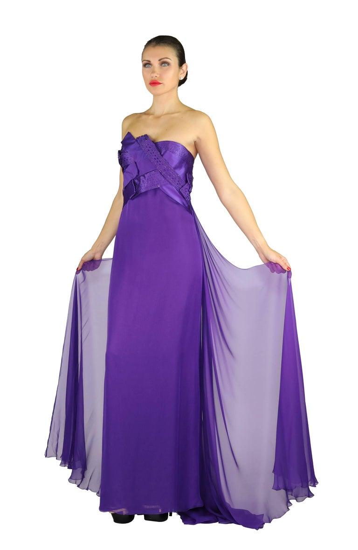Purple New VERSACE EMBELLISHED PURPLE SILK LONG DRESS GOWN Size 44 For Sale