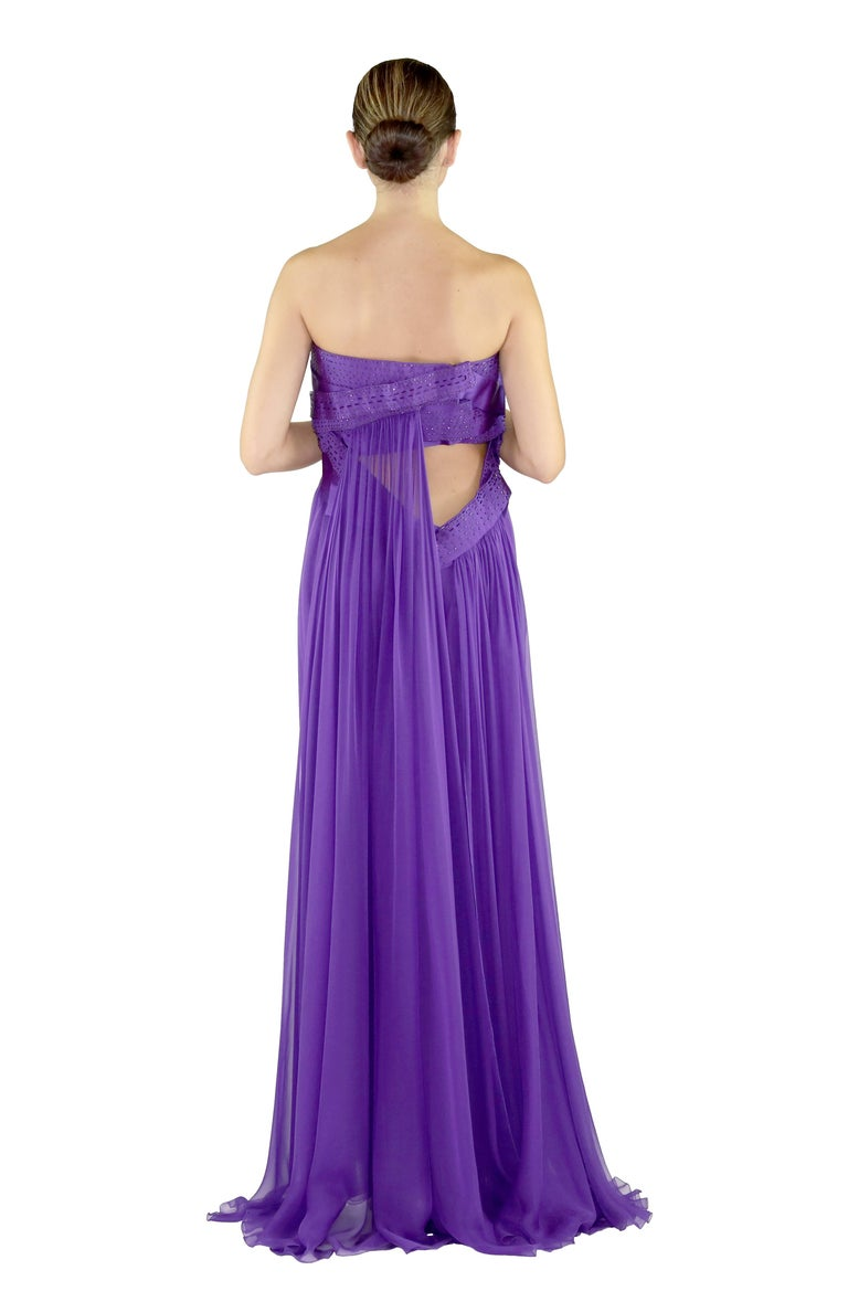 New VERSACE EMBELLISHED PURPLE SILK LONG DRESS GOWN Size 44 For Sale 3
