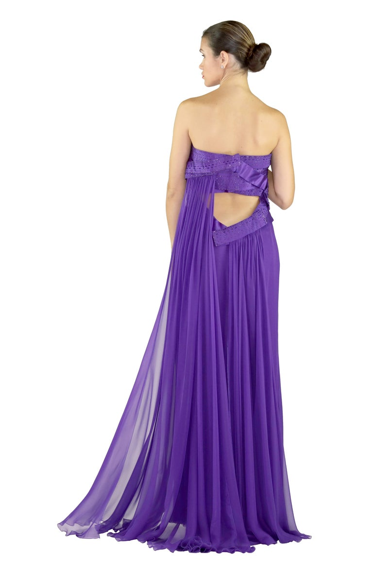 New VERSACE EMBELLISHED PURPLE SILK LONG DRESS GOWN Size 44 For Sale 4
