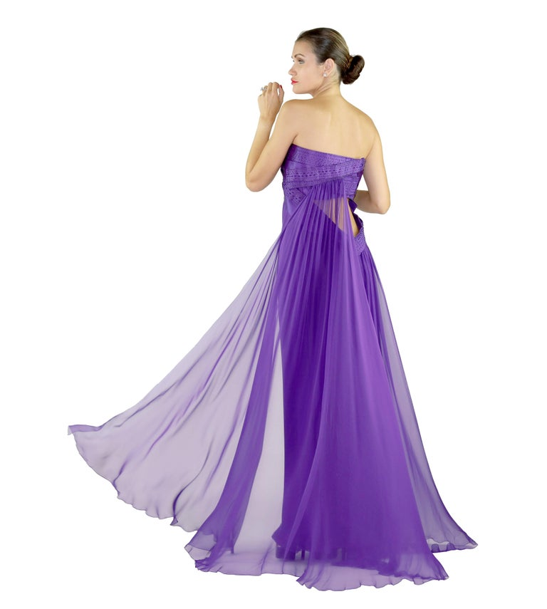 New VERSACE EMBELLISHED PURPLE SILK LONG DRESS GOWN Size 44 For Sale 1