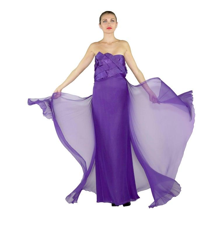 Women's New VERSACE EMBELLISHED PURPLE SILK LONG DRESS GOWN Size 44 For Sale