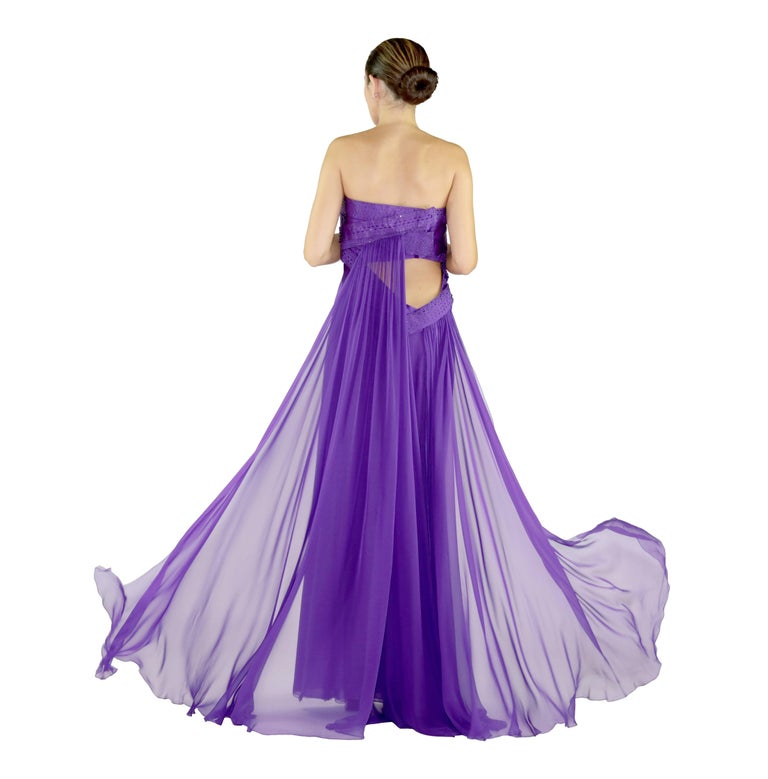 New VERSACE EMBELLISHED PURPLE SILK LONG DRESS GOWN Size 44 For Sale 2