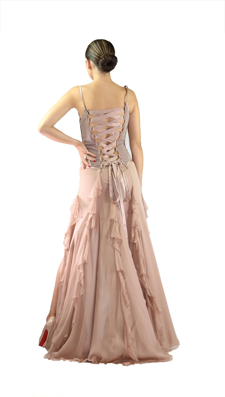 F W 2003 Vintage Versace Silk Corset Gown For 2
