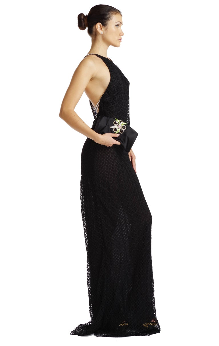 Gianni Versace Couture Vintage Black Lace Gown with Crystals For ...