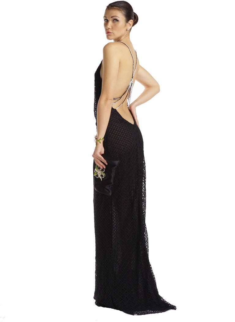 beca4d2774d Gianni Versace Couture Vintage Black Lace Gown with Crystals For Sale 1