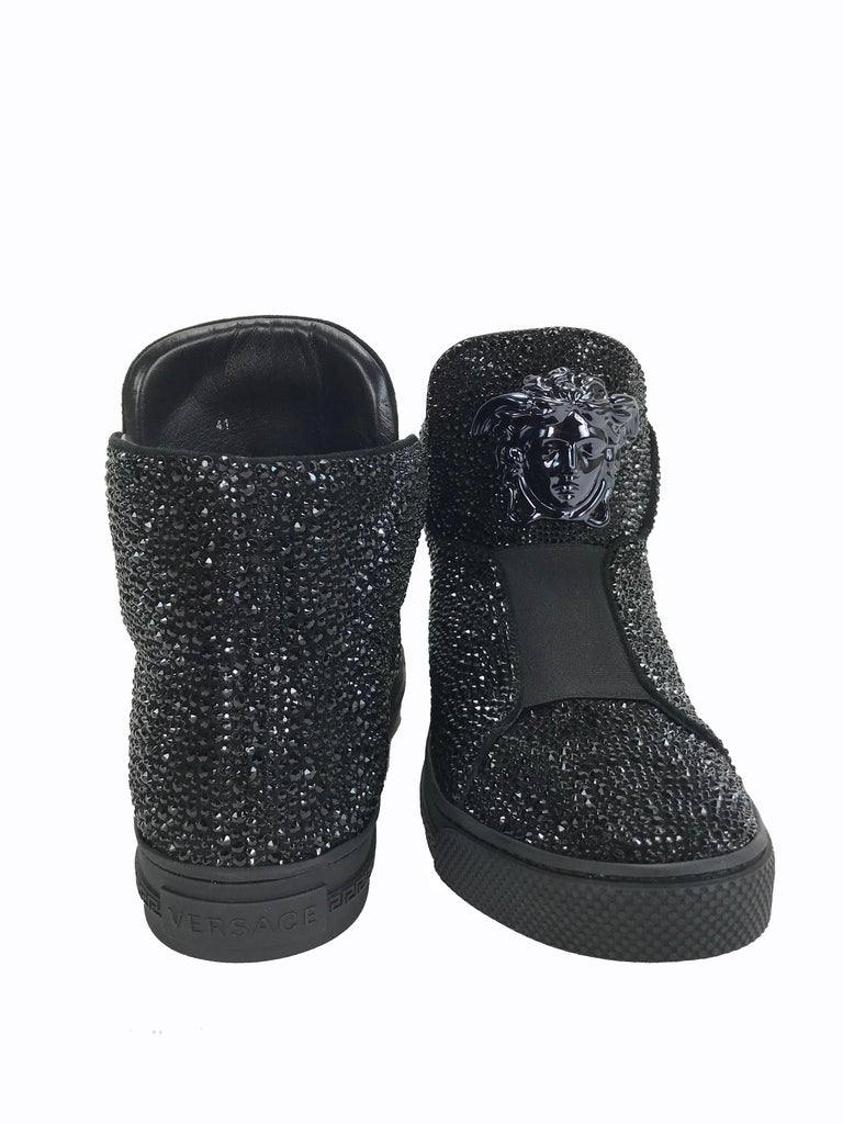 New Versace Black Palazzo High-Top Crystal Embellished Sneakers 41 - 8 In New Condition For Sale In Montgomery, TX