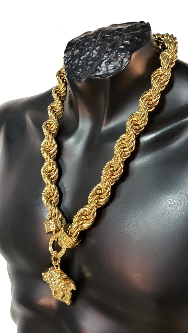 New Versace Runway 24K Gold Plated Medusa Chain Necklace as seen on Bruno Mars For Sale 1