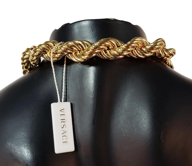 New Versace Runway 24K Gold Plated Medusa Chain Necklace as seen on Bruno Mars For Sale 6