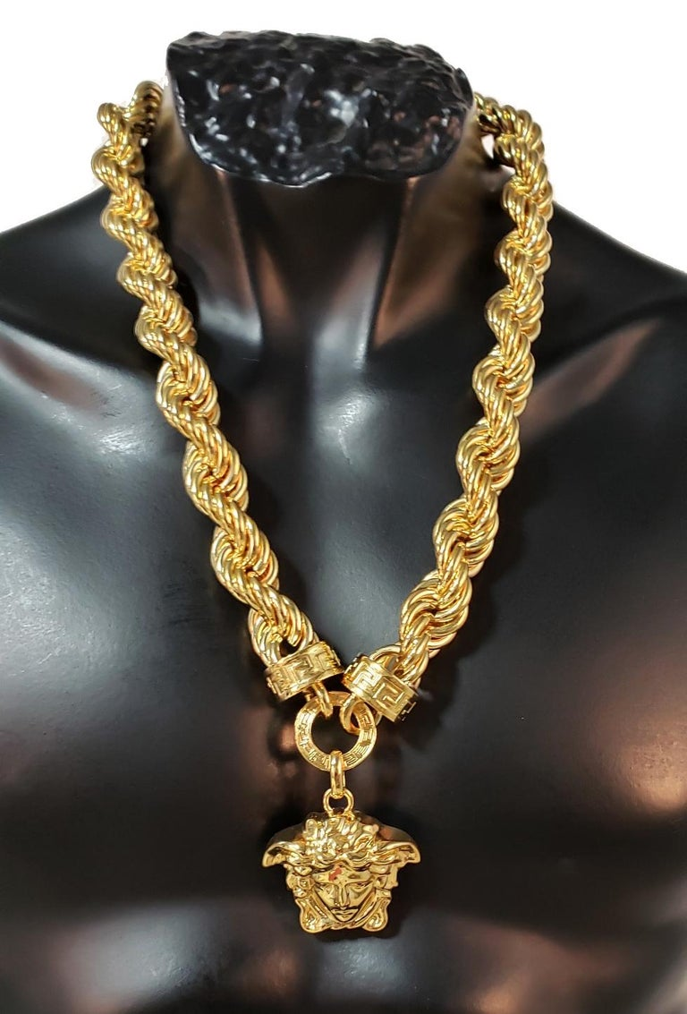 VERSACE  24K gold plated chain necklace as seen on Bruno Mars during Super Bowl 50 performance.  Pendant features Medusa head. Made in Italy.  New, in original box. With certificate and tag.