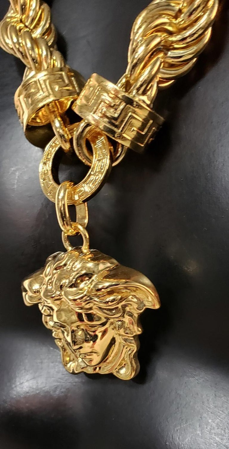 New Versace Runway 24K Gold Plated Medusa Chain Necklace as seen on Bruno Mars For Sale 2