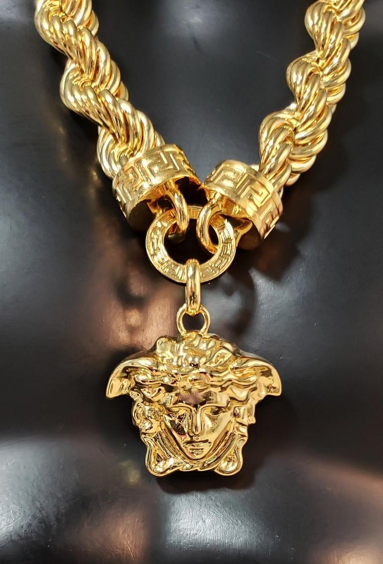 New Versace Runway 24K Gold Plated Medusa Chain Necklace as seen on Bruno Mars For Sale 3
