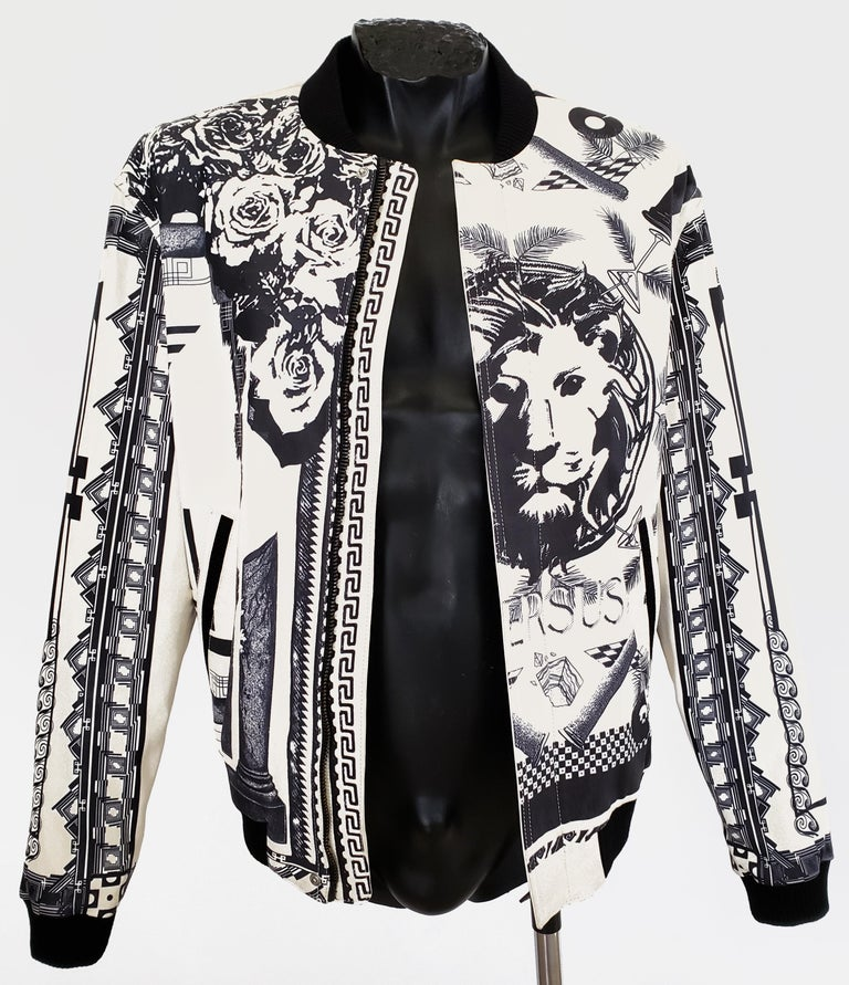 Versus Versace + Anthony Vaccarello Tattoo Leather Bomber Jacket 48 ...