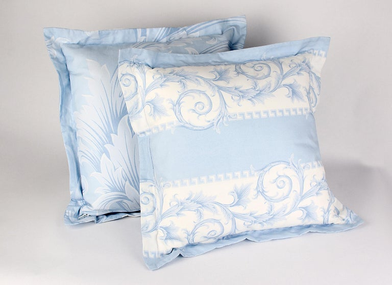 Gray SET of TWO VERSACE BLUE WHITE BAROCCO PRINT PILLOWS For Sale