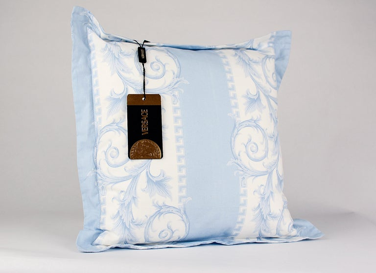 Women's or Men's SET of TWO VERSACE BLUE WHITE BAROCCO PRINT PILLOWS For Sale