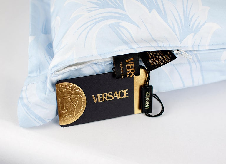 SET of TWO VERSACE BLUE WHITE BAROCCO PRINT PILLOWS For Sale 3
