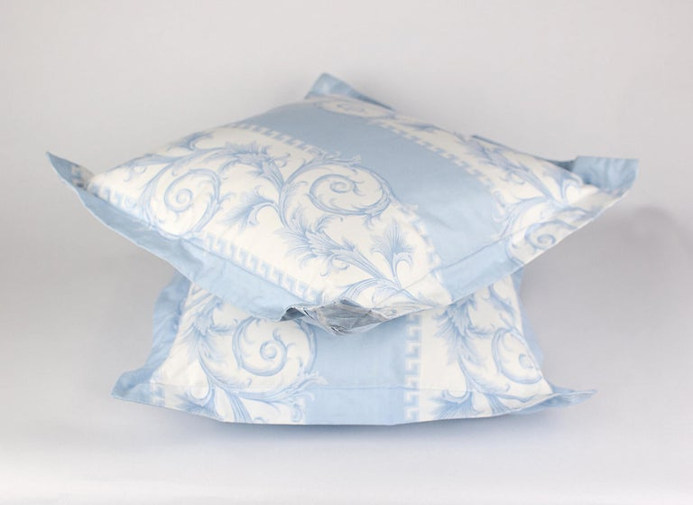 SET of TWO VERSACE BLUE WHITE BAROCCO PRINT PILLOWS For Sale 1