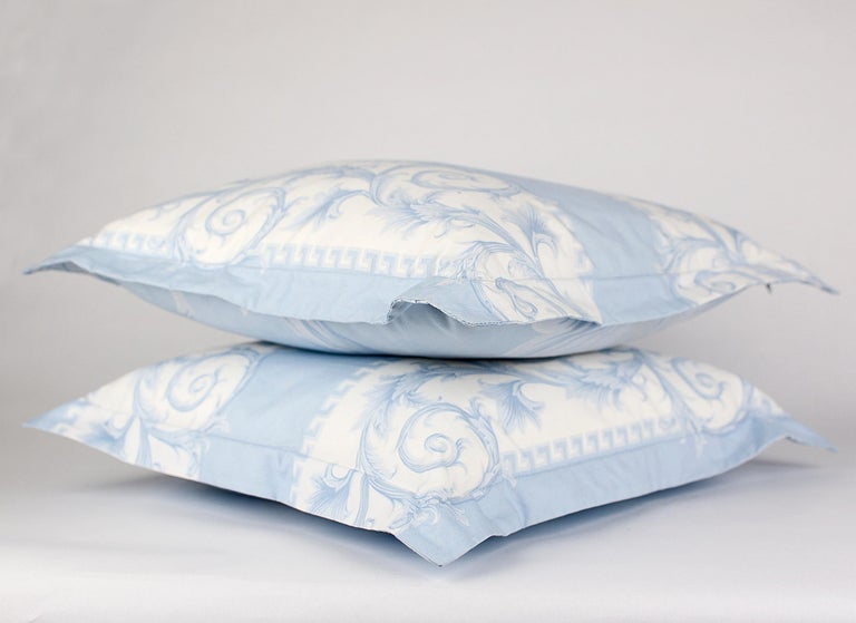 SET of TWO VERSACE BLUE WHITE BAROCCO PRINT PILLOWS For Sale 2