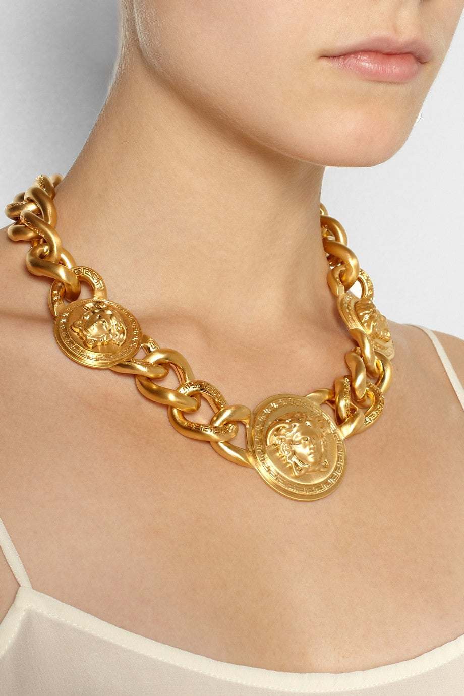 Versace Gold Medusa Charm Chain Necklace For Sale At 1stdibs