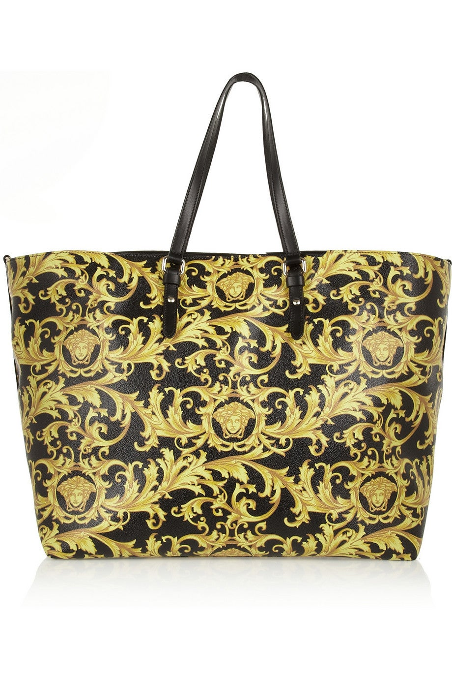 NEW Versace Black and Gold Baroque Printed Tote Bag with Medusa at ...