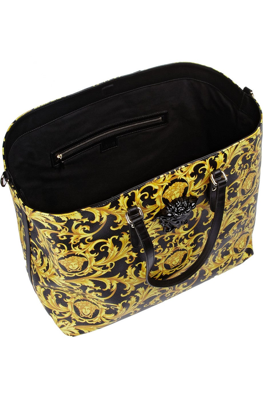 NEW Versace Black and Gold Baroque Printed Tote Bag with Medusa In New  Condition For Sale a760159c6acdb