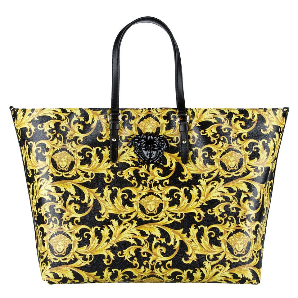 New Versace Black And Gold Baroque Printed Tote Bag With