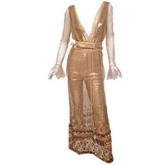 New TOM FORD NUDE EMBELLISHED CHIFFON DRESS w/ GOLD SEQUIN PANTS