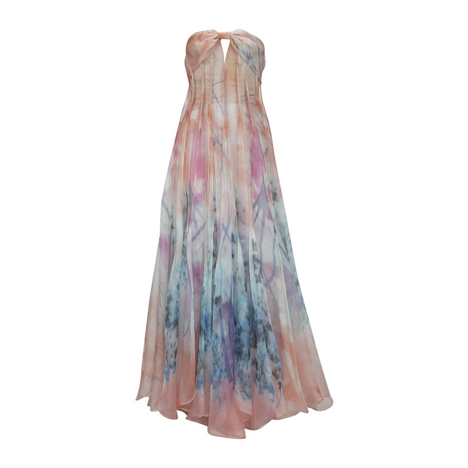 GIORGIO ARMANI Floral Print Silk Strapless Evening Gown at 1stdibs