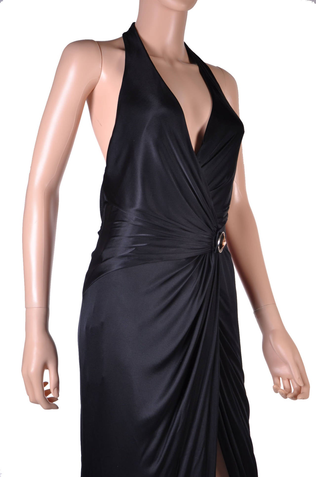 New VERSACE BLACK WRAP GOWN 4