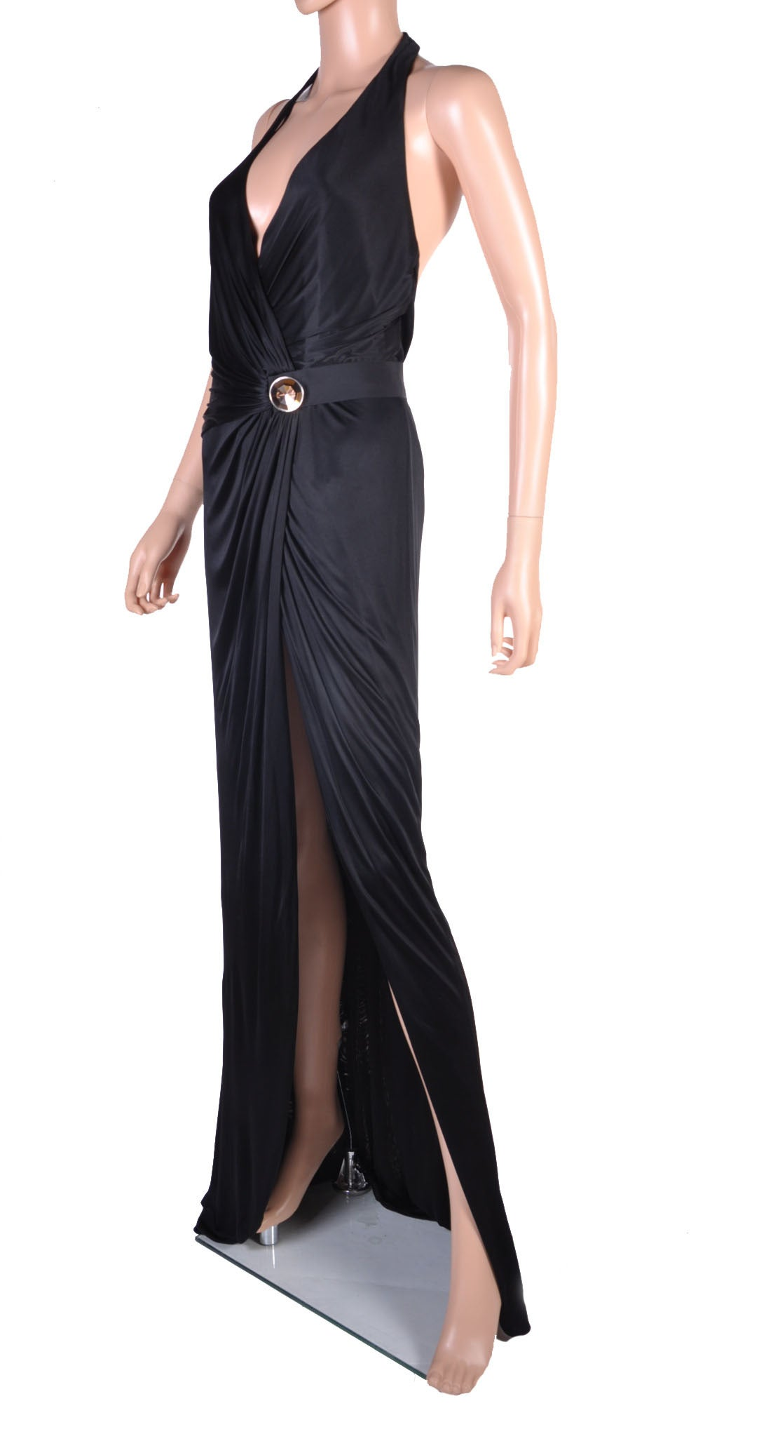 New VERSACE BLACK WRAP GOWN 2