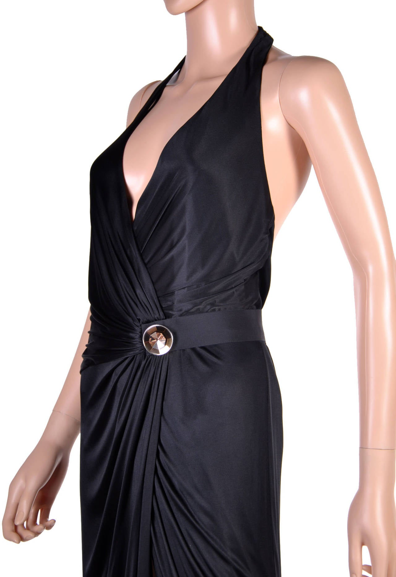 New VERSACE BLACK WRAP GOWN 3