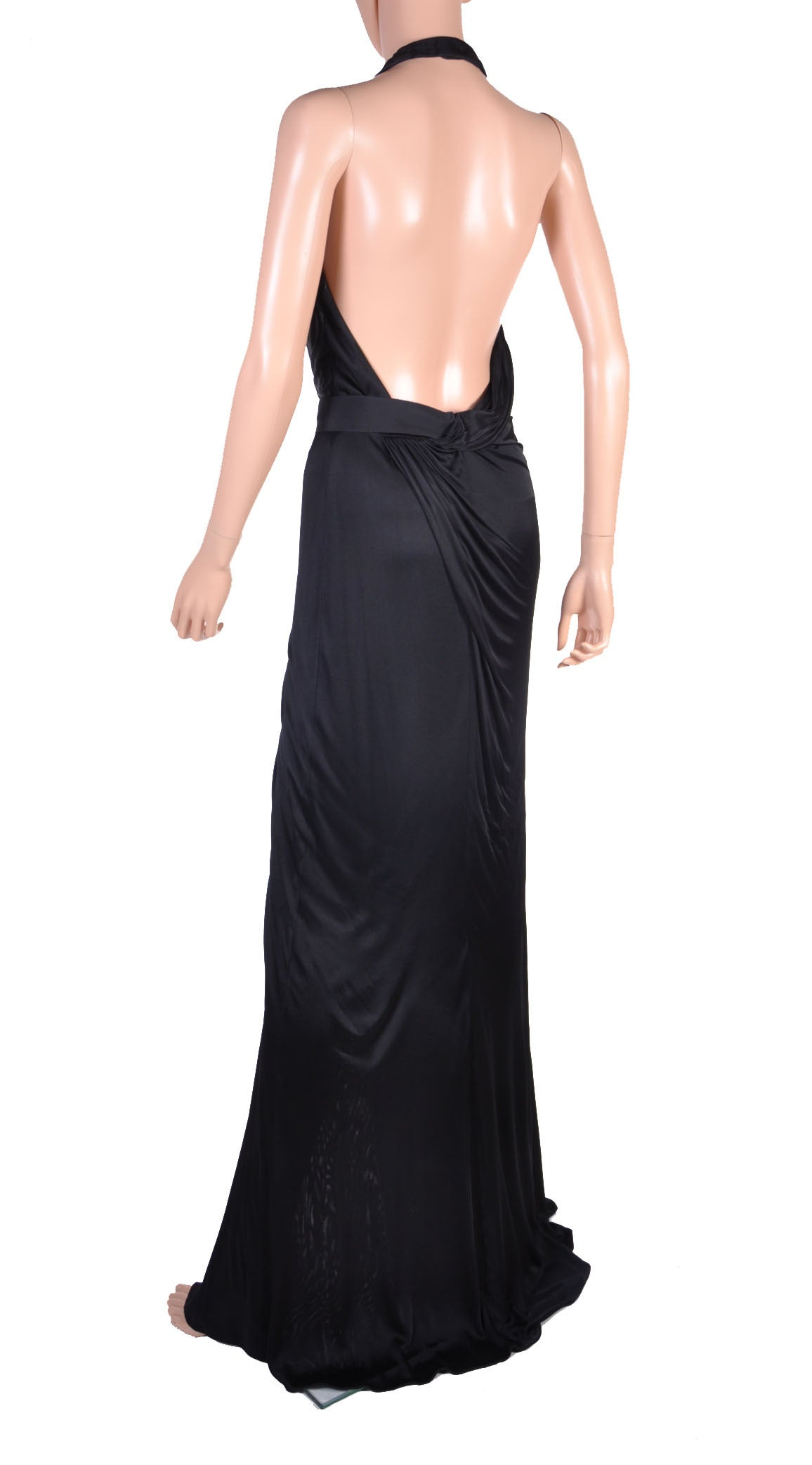 New VERSACE BLACK WRAP GOWN 5