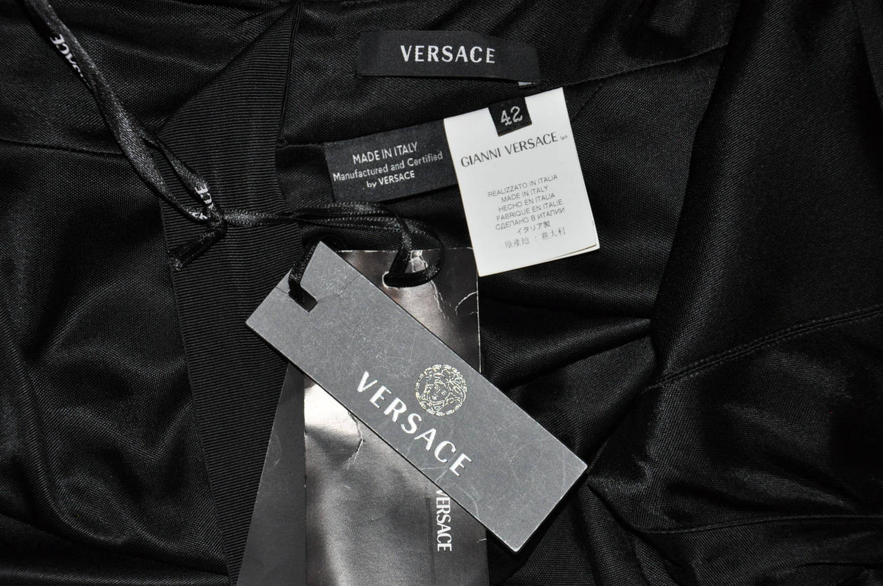 New VERSACE BLACK WRAP GOWN 6