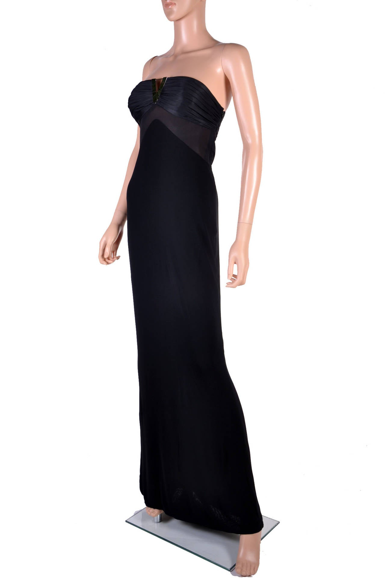 New VERSACE BLACK STRAPLESS DRESS GOWN For Sale at 1stdibs