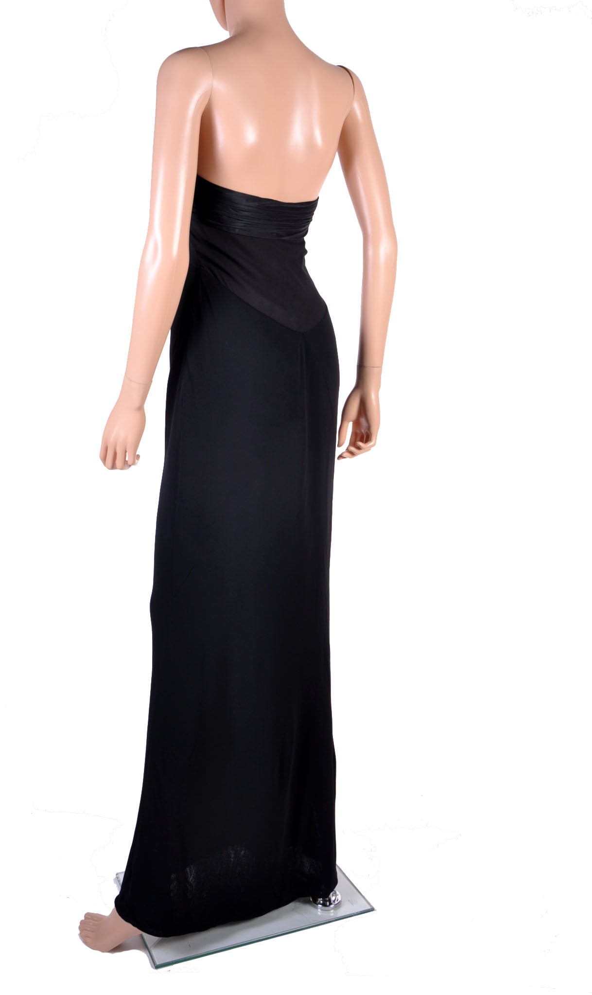 New VERSACE BLACK STRAPLESS DRESS GOWN For Sale 1