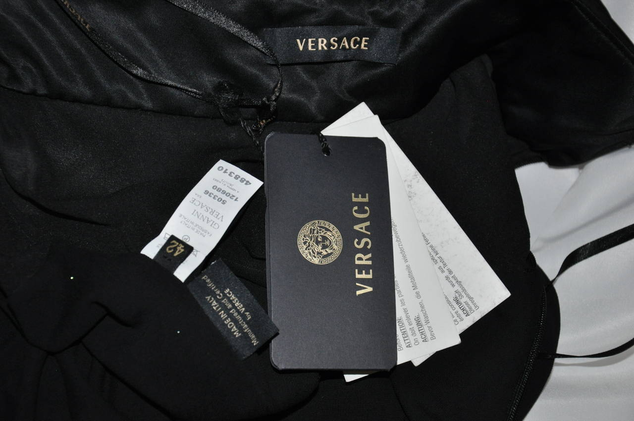 New VERSACE BLACK STRAPLESS DRESS GOWN For Sale 4