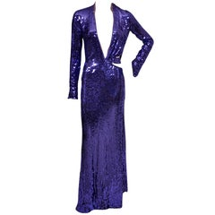 Tom Ford for Gucci purple sequin gown, 2004