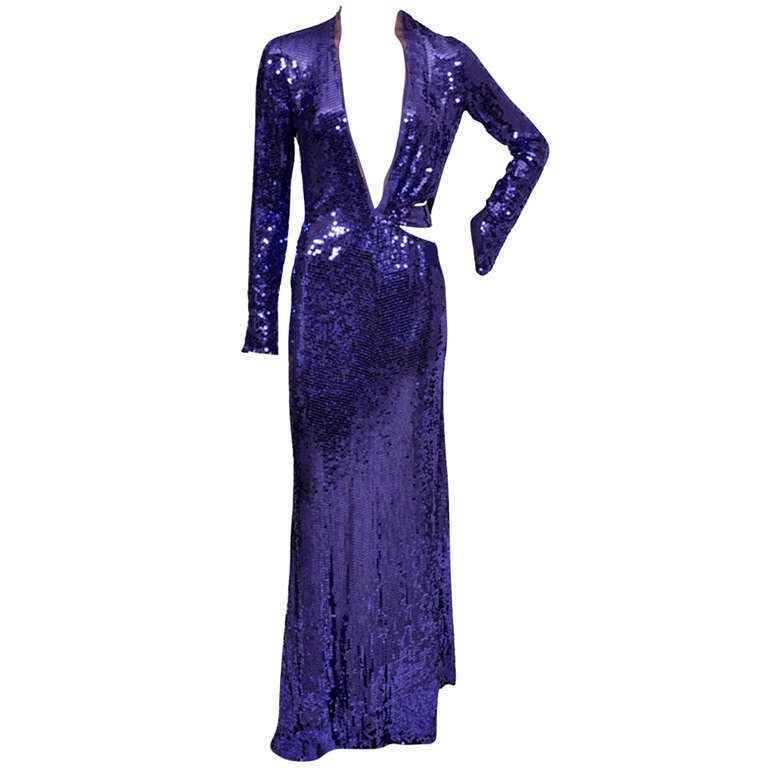 Tom Ford for Gucci purple sequin gown, 2004  For Sale