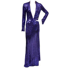 2004 Tom Ford for Gucci purple sequin gown ****New with Tags!