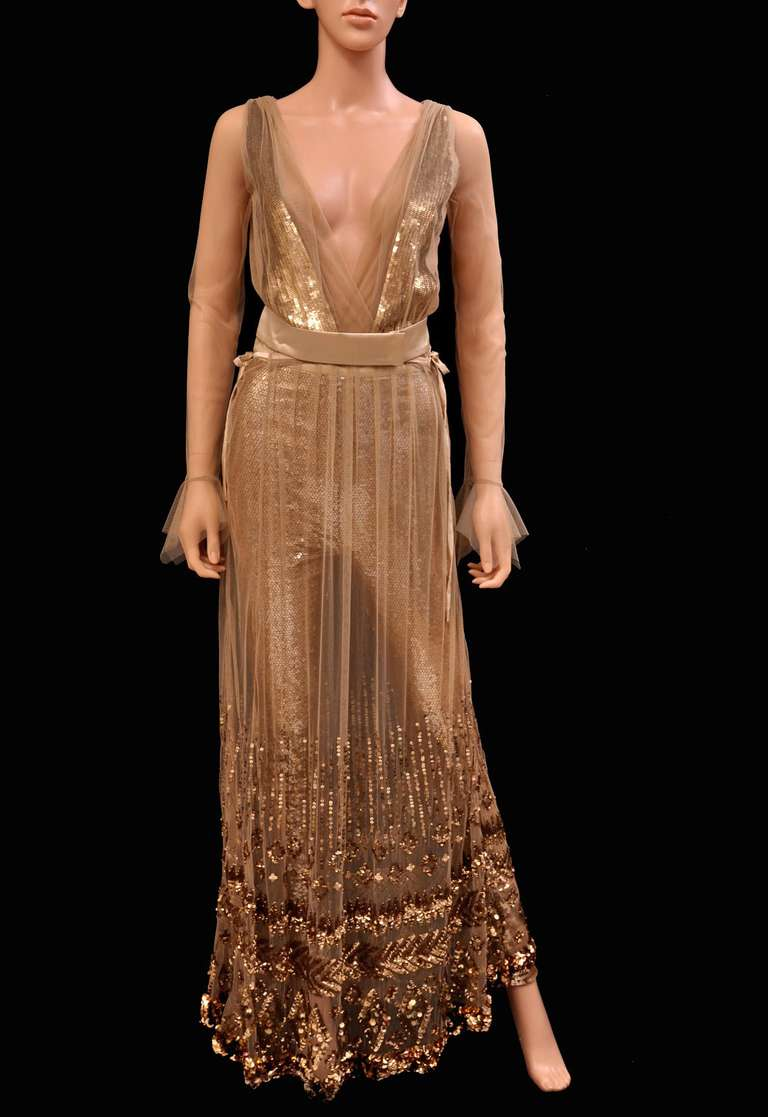 New TOM FORD NUDE EMBELLISHED CHIFFON DRESS w/ GOLD SEQUIN PANTS For ...