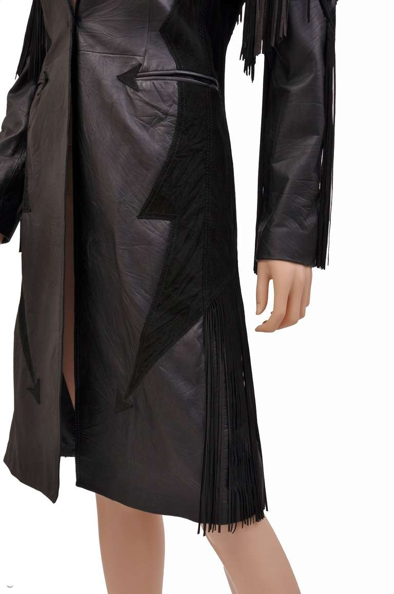 New VERSACE BLACK LEATHER COAT with FRINGE For Sale 3