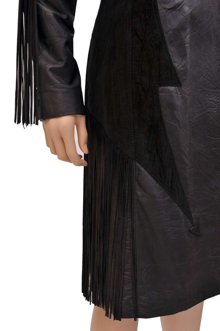 New VERSACE BLACK LEATHER COAT with FRINGE For Sale 2