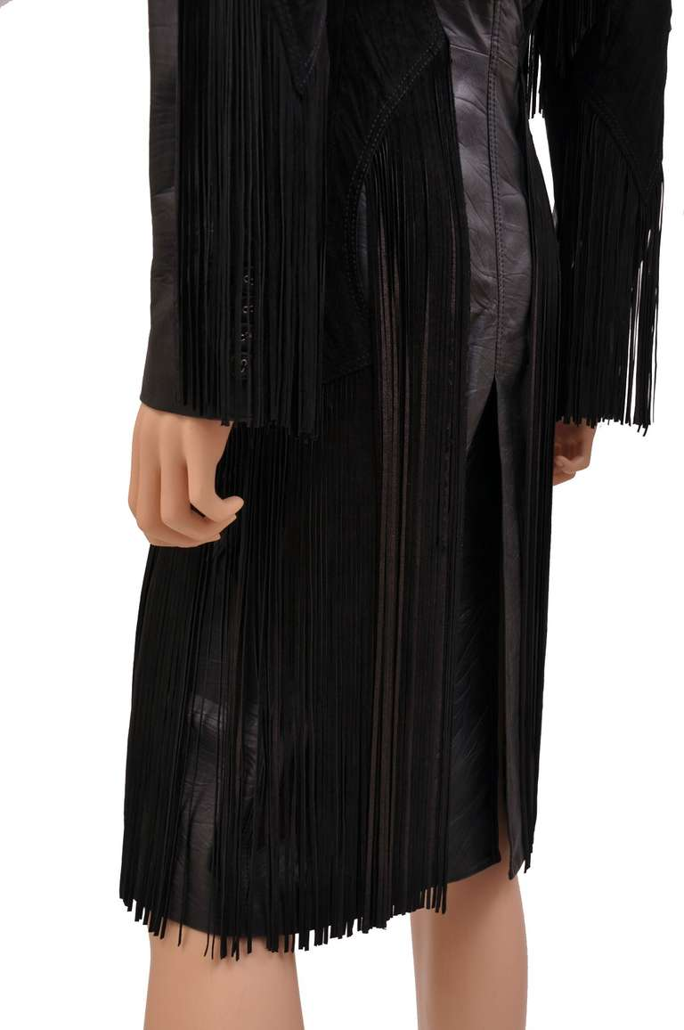 New VERSACE BLACK LEATHER COAT with FRINGE For Sale 1