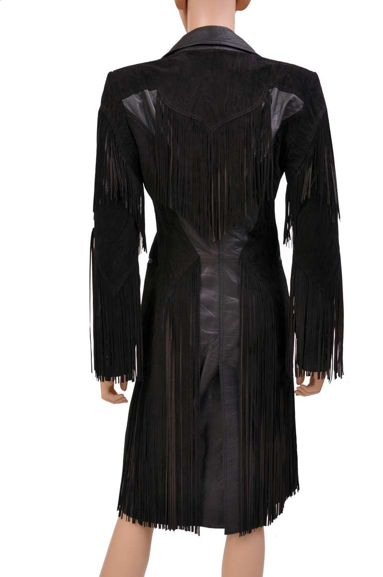 Women's New VERSACE BLACK LEATHER COAT with FRINGE For Sale