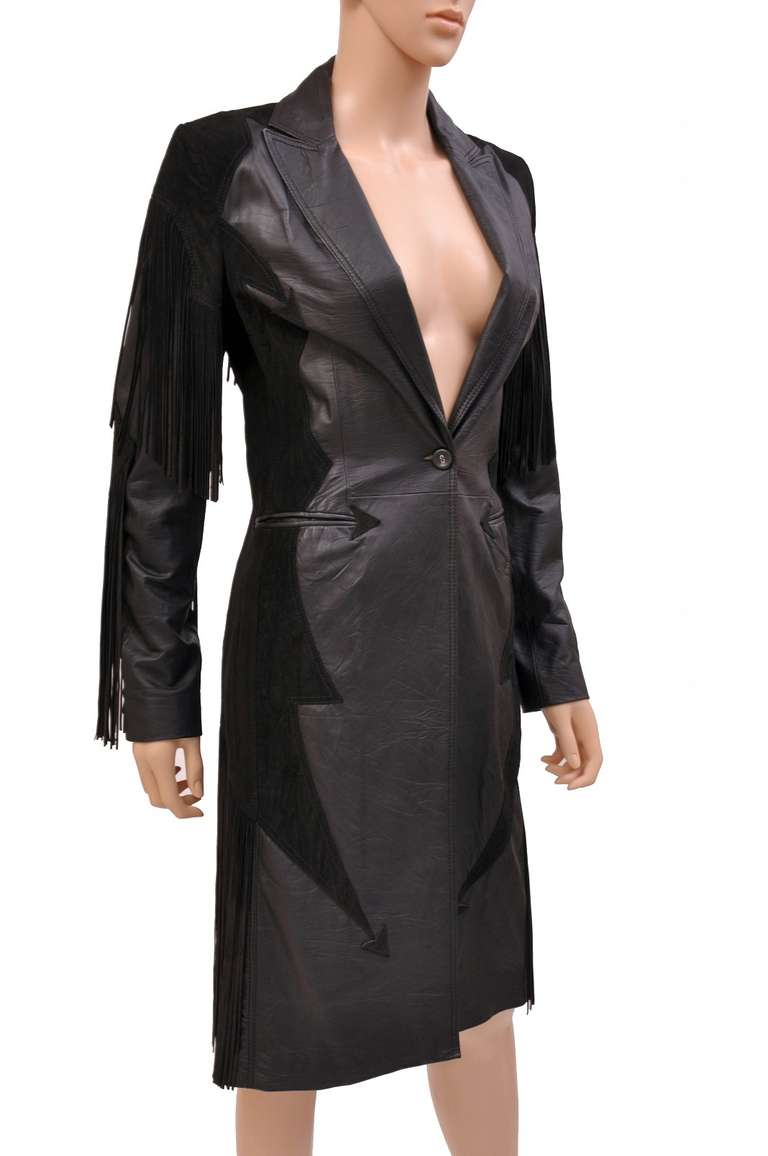 Black New VERSACE BLACK LEATHER COAT with FRINGE For Sale