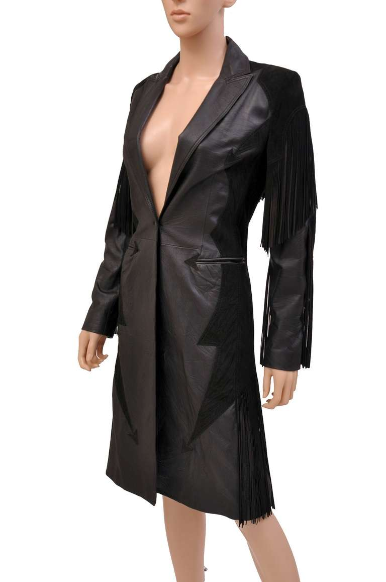 New VERSACE BLACK LEATHER COAT with FRINGE In New never worn Condition For Sale In Montgomery, TX