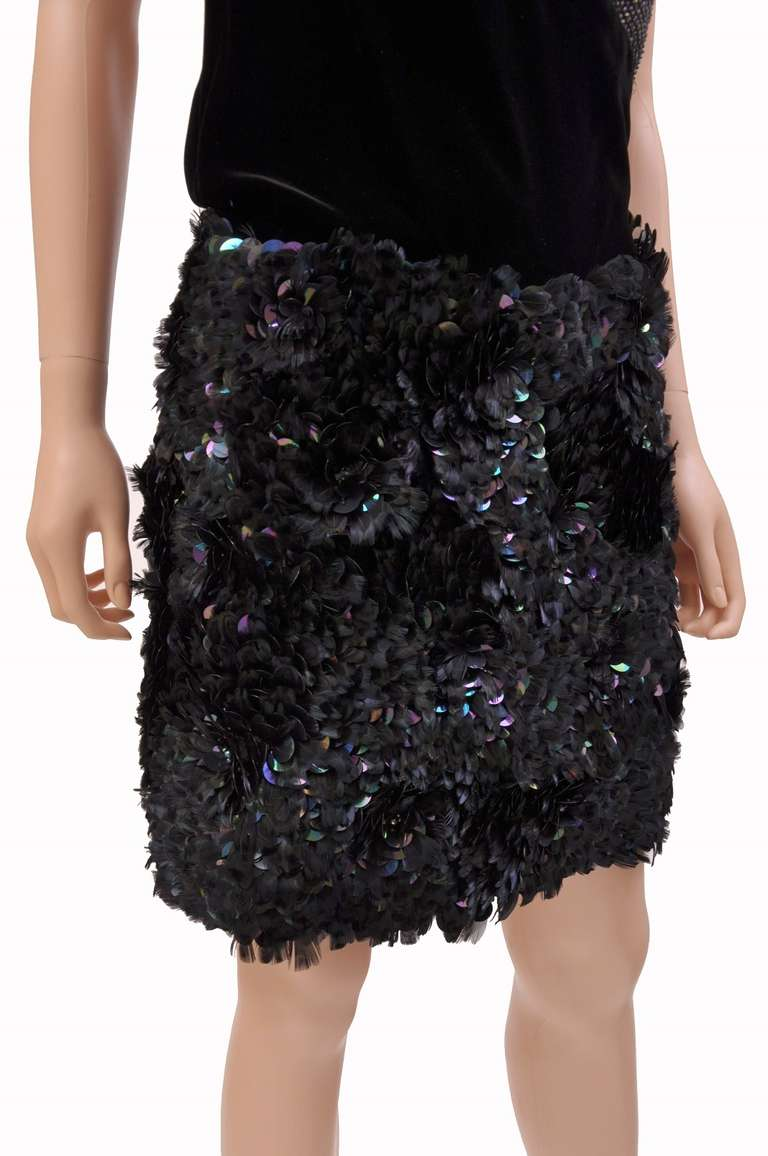 Black New GUCCI MINI DRESS WITH CRYSTALS & FEATHERS For Sale