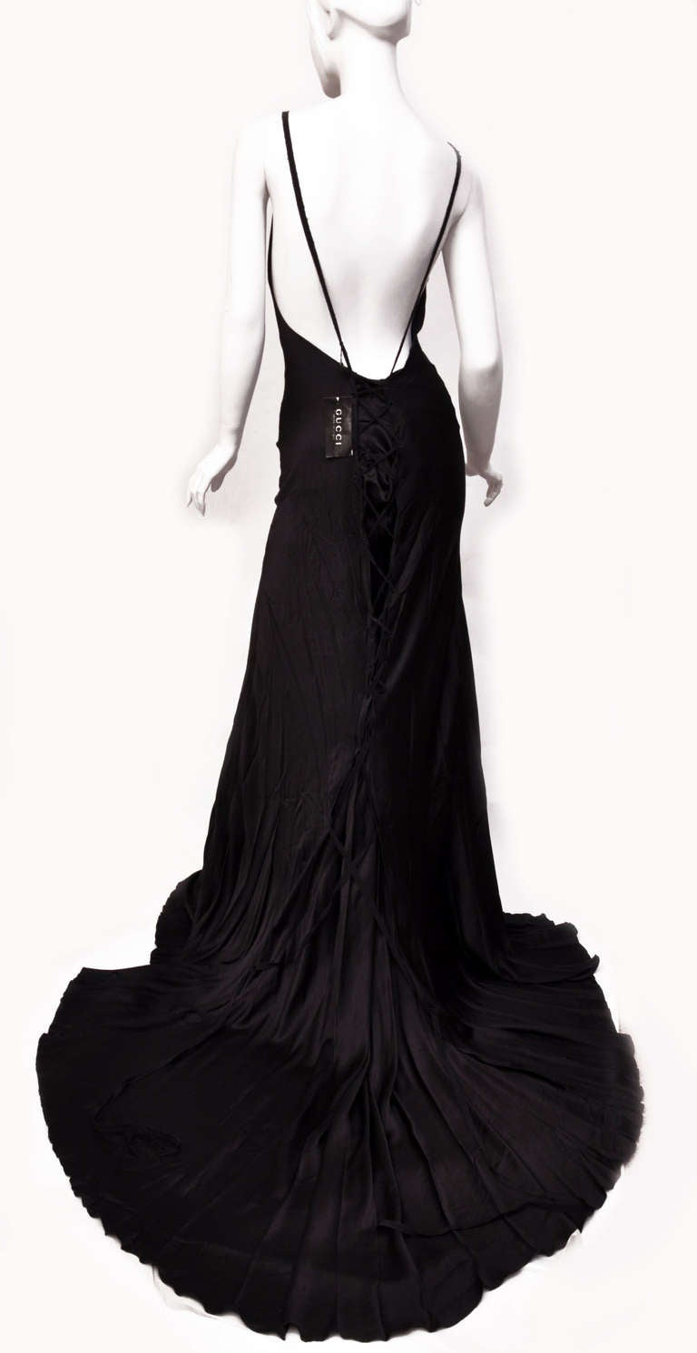 F/W 2002 TOM FORD for GUCCI LONG BLACK SILK FINALE GOWN new with tags 4